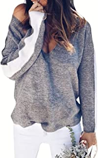 Womens Fashion Casual Color Block Patchwork V Neck Pullover Long Sleeve Knitted Loose Sweater