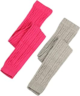 Thick Cable Knit Girls Cotton Footless Ankle Legging 2 Pairs Pack