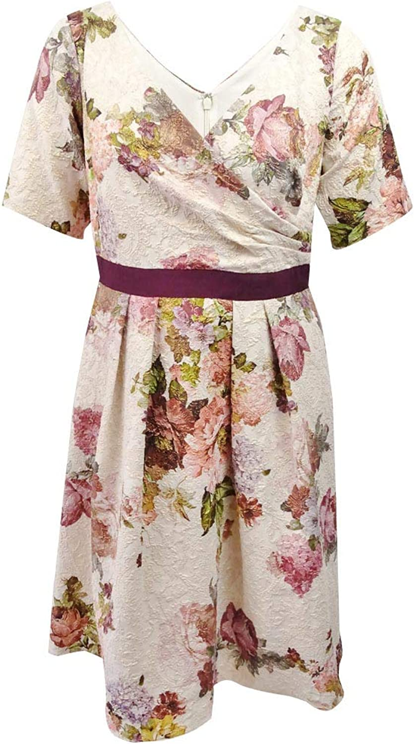 Adrianna Papell Womens Plus Metallic Floral Print Special Occasion Dress