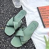 N-A Zapatillas de Cuero para Hombre, Sandalias Casuales para Mujer, Zapatos de TAC Plano de Secado r¨¢Pido en l¨ªnea para Mujer-Green_39, Zapatos de Nataci