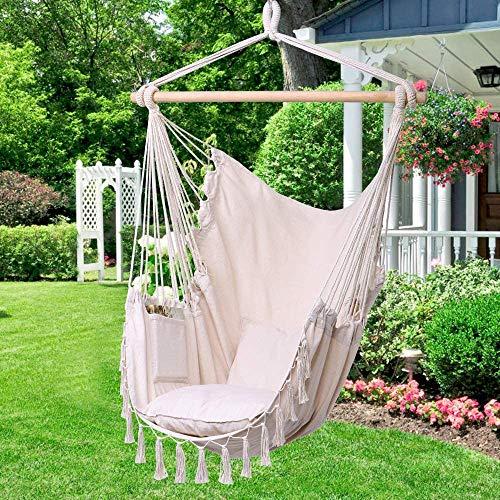 Poltrona sospesa beige, sedia sospesa, 2 cuscini e borsa per il lavoro, per interni ed esterni, 150 kg (beige), amaca sospesa