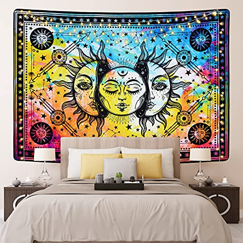 Alishomtll Psychedelic Wandteppiche Bunte Sonne Mond Wandbehang Trippy Konstellation Wandteppich Hippie Tapisserie für Schlafzimme, Mehrfarbig 150 x 130 cm