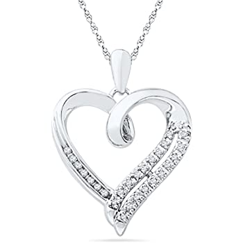 Sterling Silver Round Diamond in Heart Pendant (1/10 cttw)