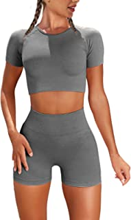 Nicytore Yoga Outfits for Women 2 Piece Set Tracksuit Seamless Short Sleeve Crop Top Workout Leggings Sportwear