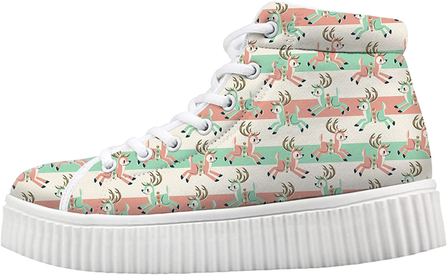 Owaheson Xmas Reindeer Busy Send for Directly managed store Sneakers Wedge unisex Women Gifts