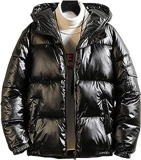 chouyatou Men's Casual Hooded Full Zip Metallic Shiny Short Bomber Alternative Down Coat