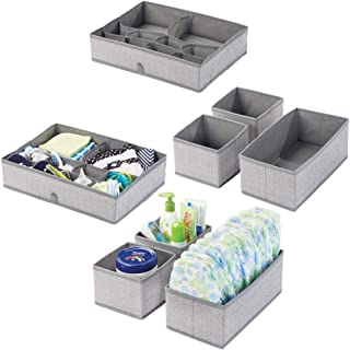 mDesign boîte de rangement pour chambre d'enfant tissu en lot de 2 – bac de rangement pour accessoires de bébé avec motif ...