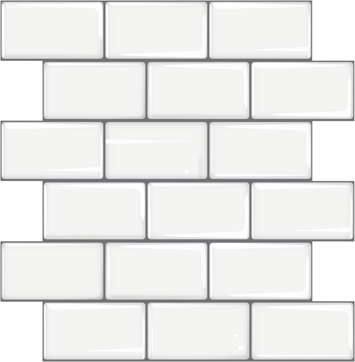 Mudder 3D White Subway Tile Wallpaper ...
