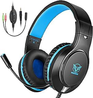 Cocoda Cascos Gaming, Auriculares Gaming PS4 para PS3/PC/Xbox One/Nintendo Switch/Laptop, Auriculares Microfono Estéreo con Bass Surround Cancelacion Ruido, 3.5mm Jack, Control de Volumen