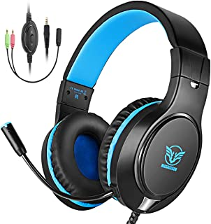 Bovon Gaming Headset for Xbox One, PS4, Lightweight Stereo Over Ear Headphones with Mic, Volume Control, Noise Isolation, Adjustable Headband, 3.5mm Jack for Smart Phones Laptop PC Mac