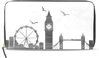 旅立の店 長財布 人気 レディース メンズ 大容量多機能 二つ折り ラウンドファスナー PUレザー  水彩画 ロンドン 黒白 ウォレット