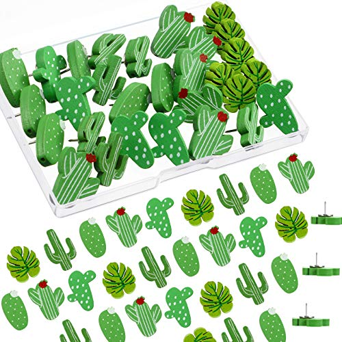 30 Pièces de Punaises en Bois Punaises Cactus Feuille de Palmier Punaise Décorative Mignonne pour Mur de Photos, Cartes, Babillard ou Tableaux en Liège