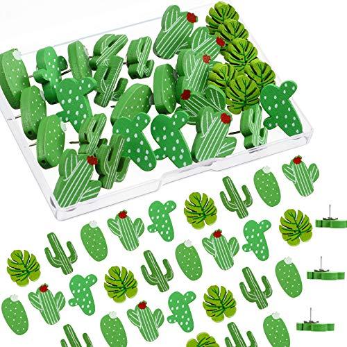 Alfileres de Madera Chinchetas de Hojas de Cactus Palma Chinchetas Lindas Decorativas para Fotos de Pared, Mapas, Tablón de Anuncios o Tableros de Corcho (50 Piezas)