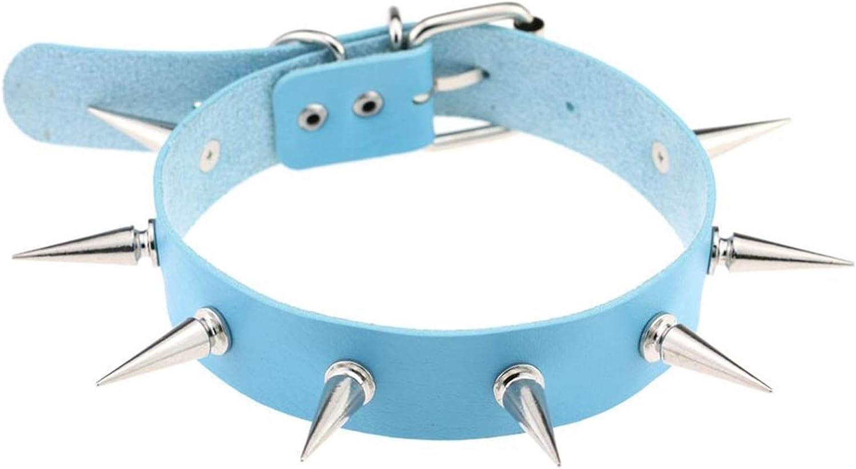 QMDSH Punk Gothic Stud Collar (Metal Color : Light Blue)