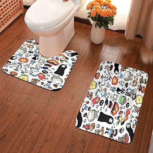 John J Littlejohn Non Slip Kawaii Ghibli Doodle Bathroom Antiskid Pad Bathmat Waterproof Bath Carpet Floor Rug 2 Pieces Bath Mat + Contour