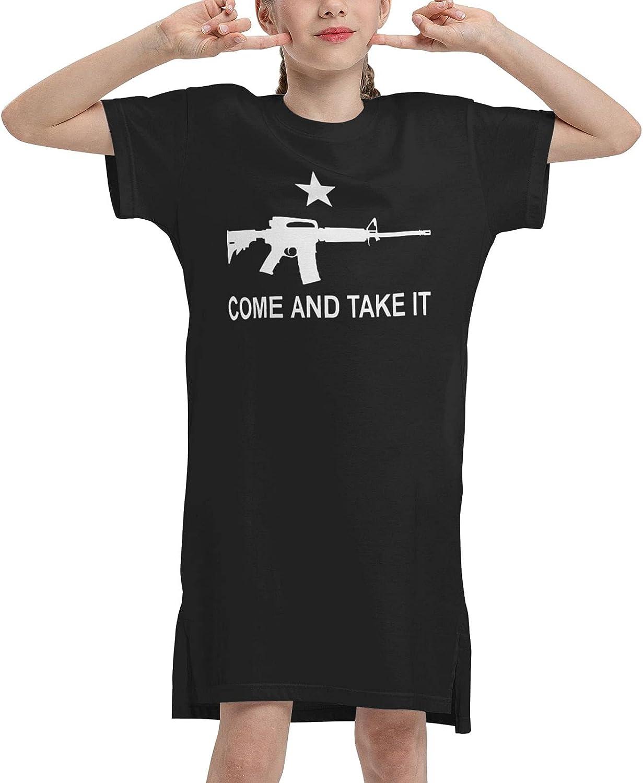 M-4 Gonzales Come and Take It Girls' Short Sleeve Dress Soft Summer Cotton Short Sleeve Summer T-Shirt Dress