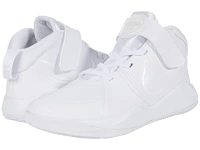 Nike Kids Team Hustle D 9 (Little Kid) (White/White/Platinum Tint/Volt) Kids Shoes