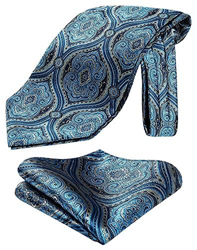 Enlision Corbata Ascot para Hombre Paisley y Flores Formal Boda Fiesta Prom Modernas Pañuelos de Bolsillo Conjuntos de Corbatas
