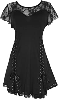 Dare to Wear Roxanne Corset Top: Gothic Punk Rock Victorian Women's Lace Shirt for Everyday Halloween Cosplay Concerts