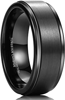 King Will Glory Basic 8mm Rose Gold/Brown/Silver/Black Plated Tungsten Carbide Ring Wedding Band Matte Finish Comfort Fit
