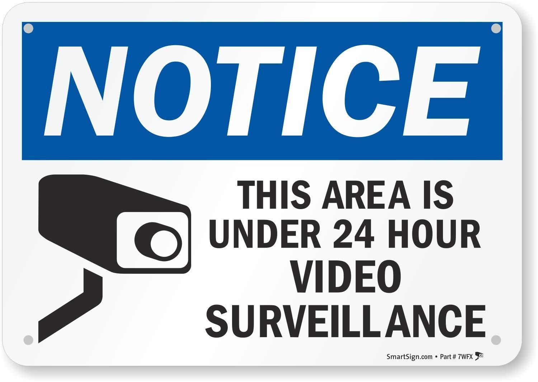 This Area is Under 24 Hour Video Surveillance Sign SmartSign Notice Sign 24 x 36 Aluminum