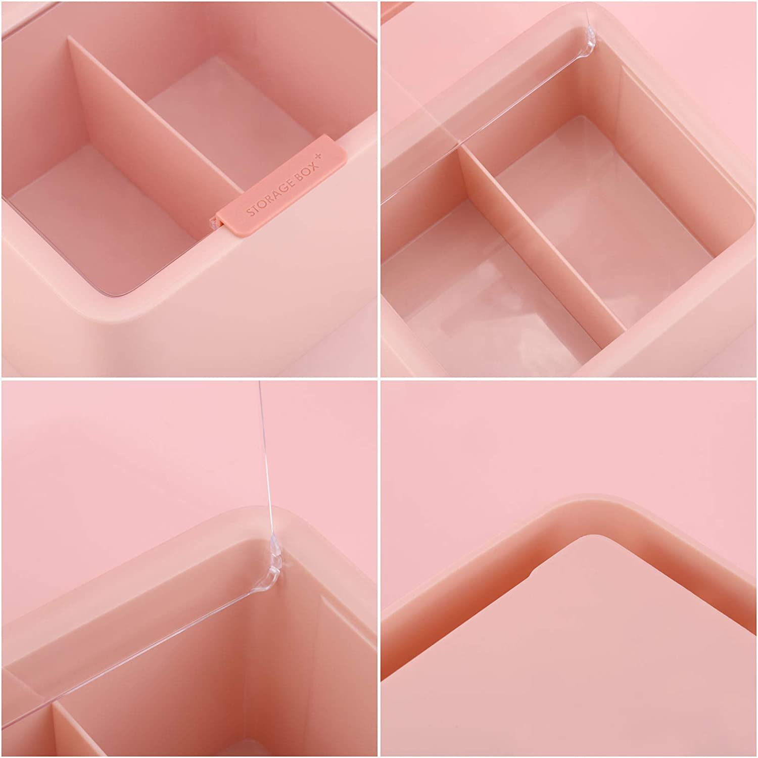 Tecbeauty 2 Slot Cotton Swab Ball Qtip Holder Jar Plastic Container Dispenser Box with Lid for Bathroom Home Storage