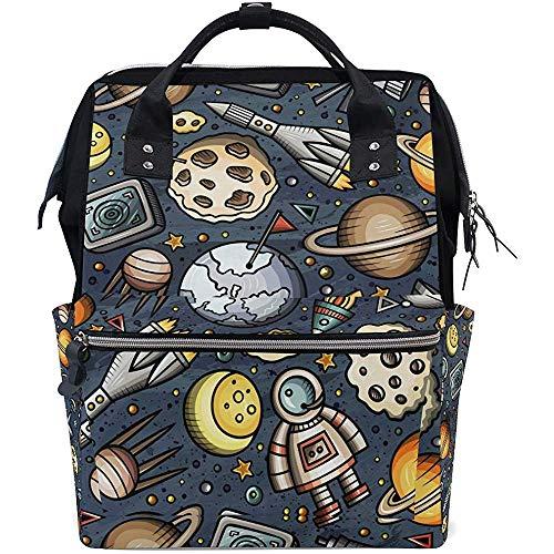 Rucksack Cartoon Space Planet Windel Baby Taschen Rucksack Große Kapazität Lässig Multifunktions-Reißverschluss Reisen 28X18X40Cm Rucksäcke Mama Papa Unisex