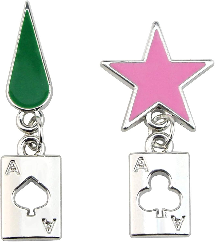 YiYuYiHua HUNTER x HUNTER Hisoka Earrings -stainless steel Star and Teardrop Anime Stud Earrings Women Anime Men Earring Jewelry Gift Accessories