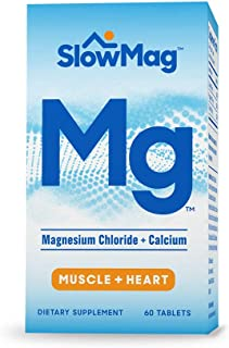 SlowMag Mg Muscle + Heart Magnesium Chloride with Calcium Supplement, 60 Count