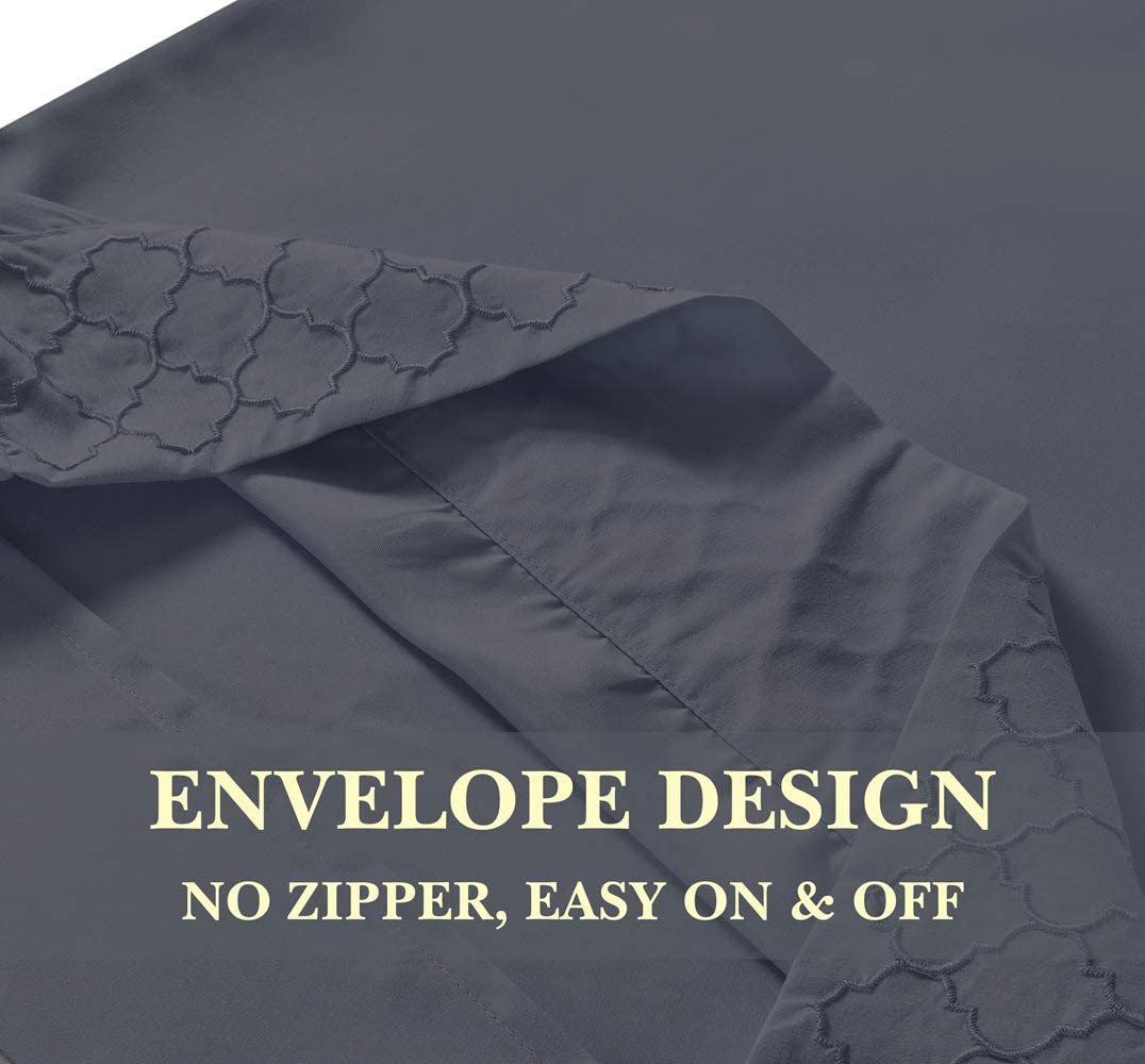Janluxe 6pcs Full Bed Set 1800 Brushed Microfiber Bedding Set Wrinkle Stain Resistant Fade Burgundy,Full