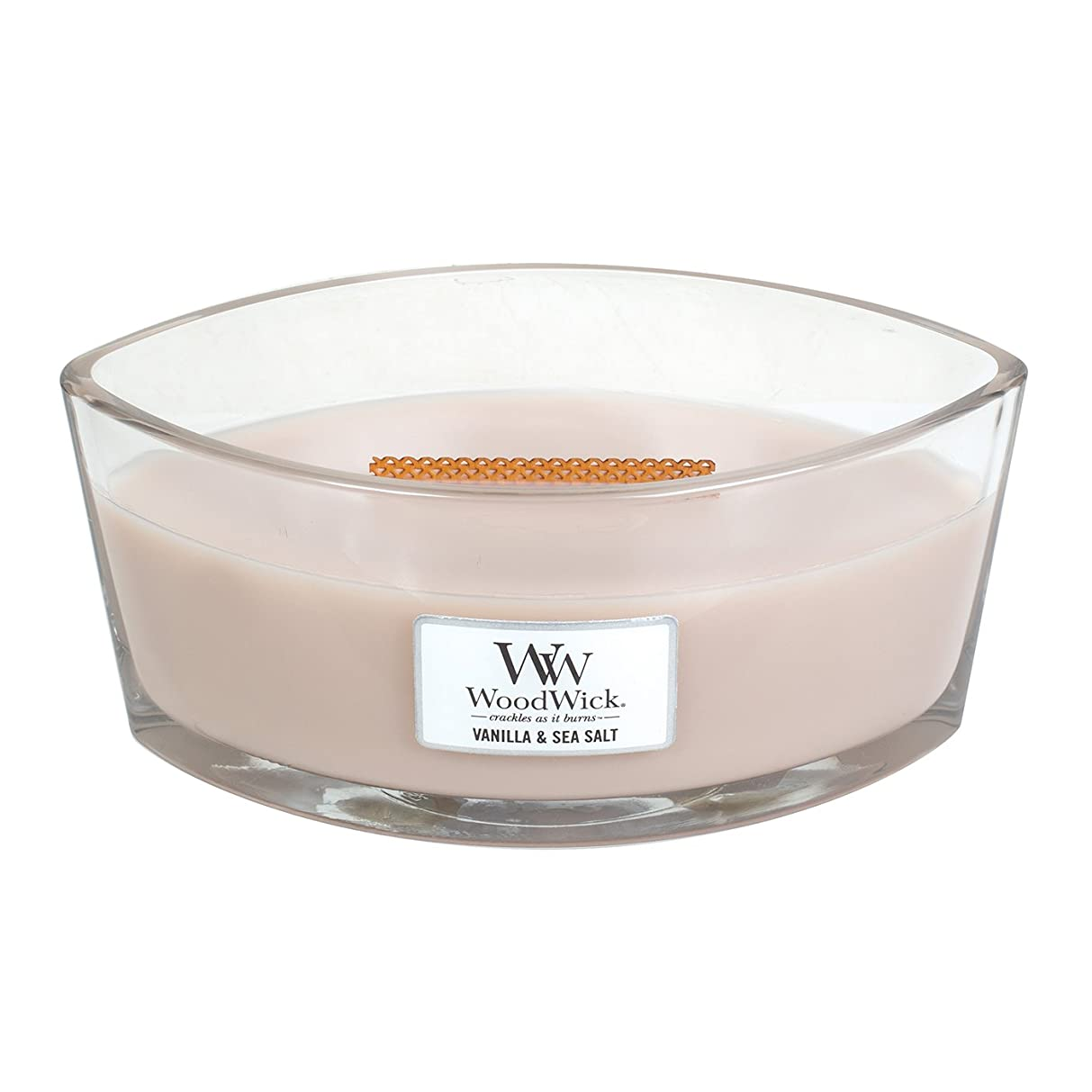 許される飼い慣らす大臣WoodWick VANILLA & SEA SALT, Highly Scented Candle, Ellipse Glass Jar with Original HearthWick Flame, Large 18cm, 470ml