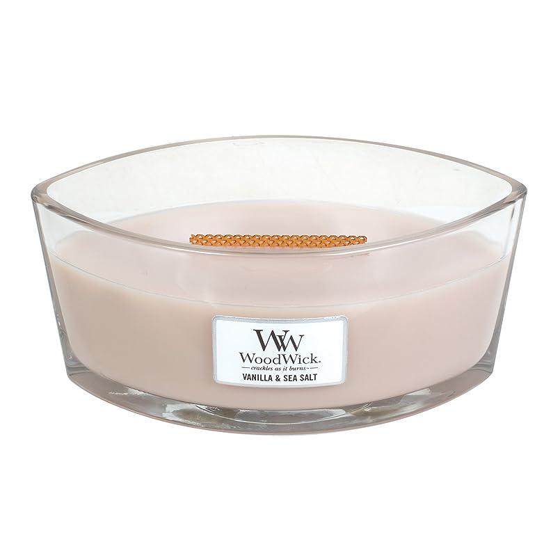 スキニーインキュバスマネージャーWoodWick VANILLA & SEA SALT, Highly Scented Candle, Ellipse Glass Jar with Original HearthWick Flame, Large 18cm, 470ml