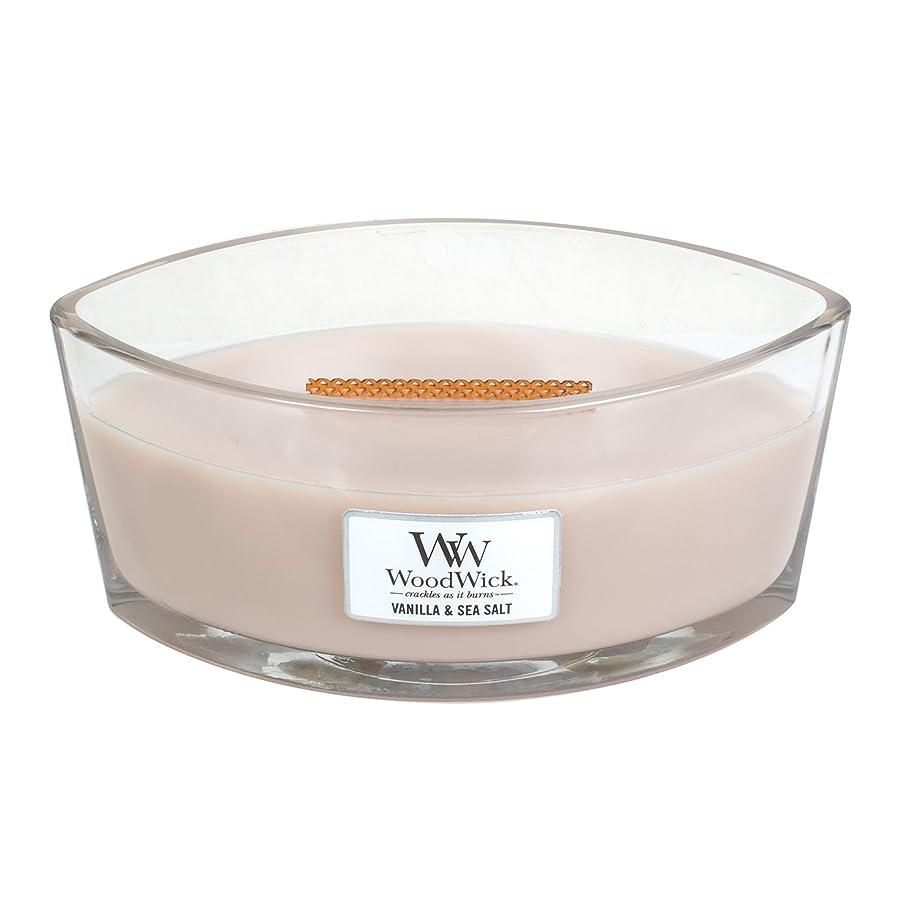 摂氏うがいコックWoodWick VANILLA & SEA SALT, Highly Scented Candle, Ellipse Glass Jar with Original HearthWick Flame, Large 18cm, 470ml