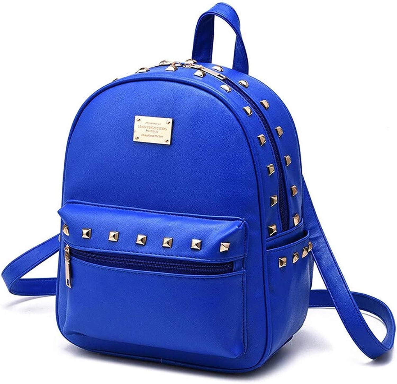 Casual Daypacks, Backpack Leather Ladies Bag Rivet Casual Backpack College Wind Student Bag Outdoor Travel Bag 26×13×32CM (color   blueee)