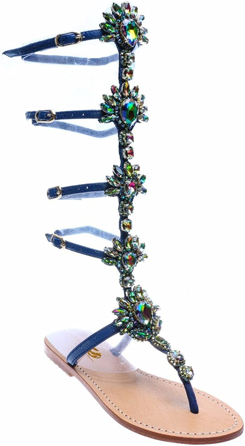 Original Intention Women Gladiator Sandals Fashion Rhinestone Open Toe Flats Popular Elegant bluee gold shoes