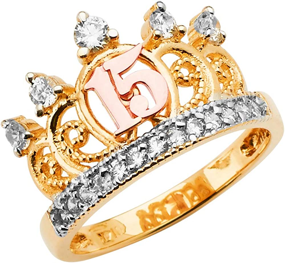 FB Jewels 14K Yellow White and Rose Three Color Gold Fifteen 15 Year Birthday Quinceañera Fashion Anniversary Cubic Zirconia CZ Crown Ring