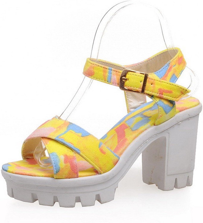 WeenFashion Women's High-Heels Soft Material Assorted color Buckle Open Toe Heeled-Sandals