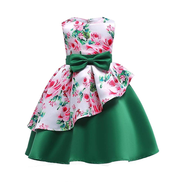 ガールズドレス 女の子ドレス ワンピース 不規則な裾 入園式 結婚式 卒業式 お花柄 蝶結びリボン 子供