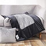 """PeachLeaf Weighted Blanket for Kids Adult Travel Weighted Lap Pad (6 lbs 24"""" x 40"""" Grey) 100% Polyester Microfiber with Glass Beads Breathable Throw Blanket for Sofa Chair"""