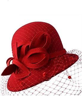 ZOO ヴィンテージフェルトワイドつばウールリボンの花冬フロッピー帽子女性のための山高帽 (色 : 赤)