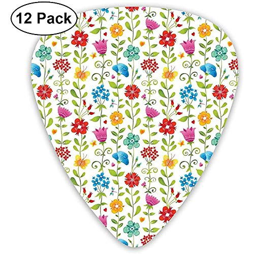 Púas de guitarra Paquete de 12, colorido concepto de renacimiento de la naturaleza del jardín con imagen de patrón de flores frescas de verano