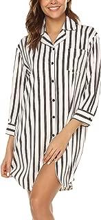 Women's Boyfriend Nightshirt 3/4 Sleeve Button Down Striped Nightgown Sleepwear S-XXL