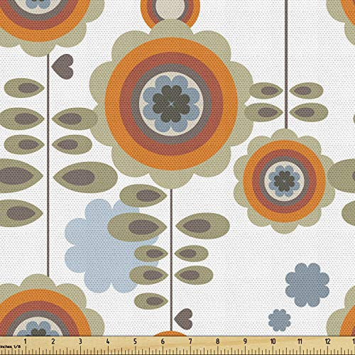 Ambesonne Flower Fabric by The Yard, Retro Style Floral Background with Abstract Colorful Blossoms Garden Plants Print, Decorative Fabric for Upholstery and Home Accents, 2 Yards, Orange White