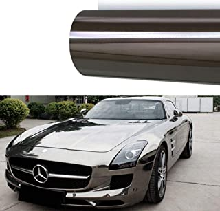 M J-AUTOPARTS Chrome Mirror Vinyl Film Wrap Sticker Decal Stretchable Reflective + Free Cutter, Scissors & Squeegee (1FTX5FT / 12