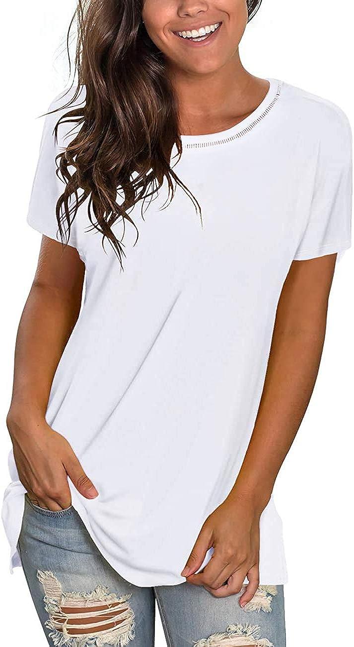 rrhss Womens Casual Short Sleeve T-Shirt Crewneck Hollow Out Scoop Neck Tee Summer Blouse Tunics Tops T-Shirt
