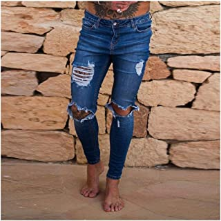 LUKEEXIN Streetwear Hip Hop Jeans Knee Hole Slim Solid Color Black Stretch Denim Trousers Biker Motorcycle Trousers
