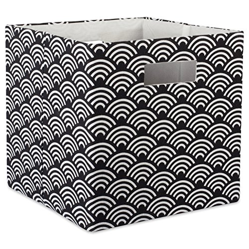 DII Hard Sided Collapsible Fabric Storage Container for Nursery, Offices, & Home Organization, (11x11x11) - Waves Black