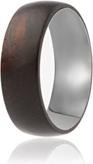 SOLEED Rings Wooden Wedding Band with Inner Tungsten Layer for Strength and Protection - Designed for Men and Women, 8mm Natural Ebony Wood Ring, Comfort Fit Design, Domed Top