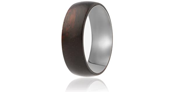 Comfort Fit Design SOLEED Rings Wooden Wedding Band with Inner Tungsten Layer for Strength and Protection Domed Top 8mm Natural Ebony Wood Ring Designed for Men and Women