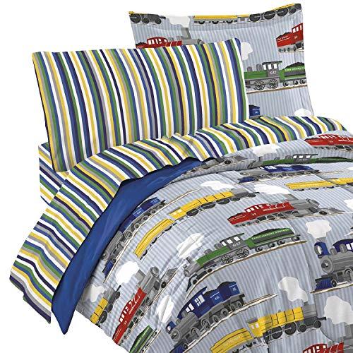 dream FACTORY 2A749000BL Bettwäsche Züge, 4-teilig, Blau, Kleinkind